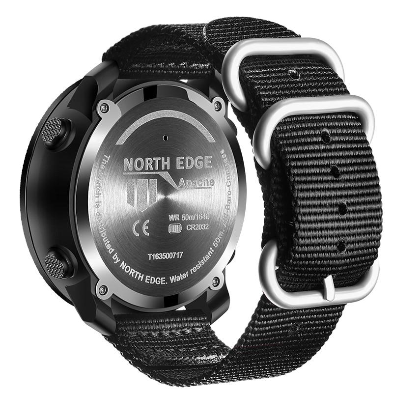 Мужские спортивные цифровые часы NORTH EDGE, водонепроницаемые армейские часы с компасом, альтиметром и компасом, 50 м