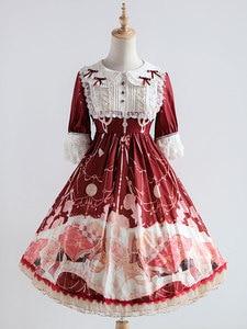 Платье Лолиты с коротким рукавом, шифоновое платье с принтом, милое цельное платье лолиты