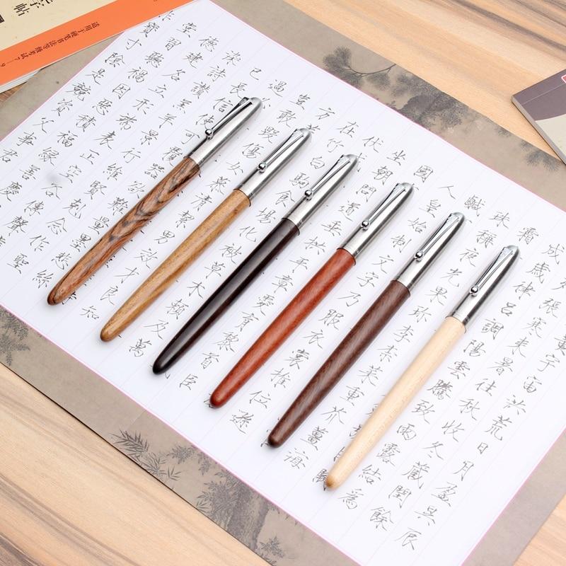 Fountain Pen 0.5mm Jinhao 616 Handmade Natural Wood Iridium Fine Fountain-Pen Writing Pens School Office Supplies Stationery New