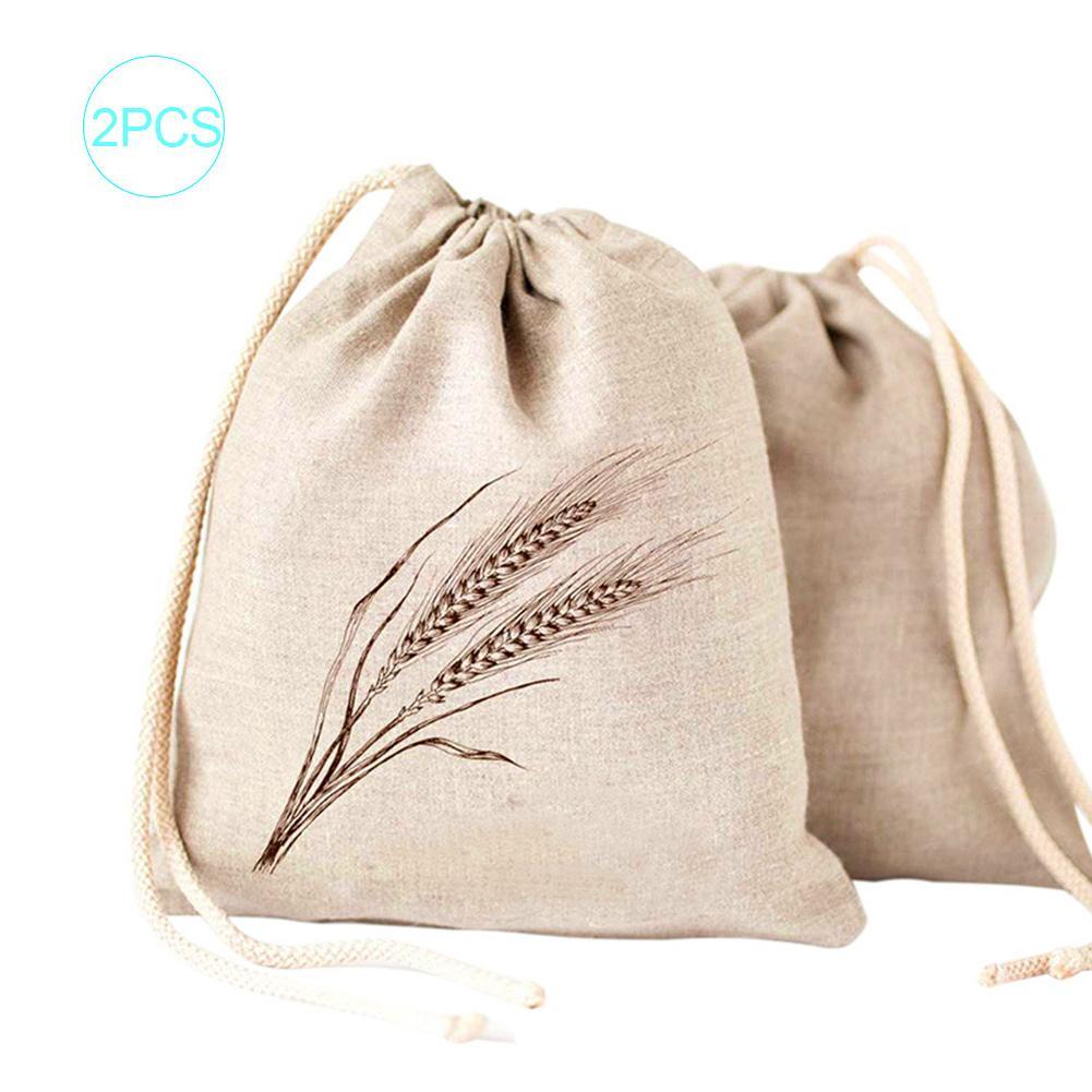 2PCS Drawstring Bag Organic Cotton Storage Bag Environmentally Friendly Shopping Bag