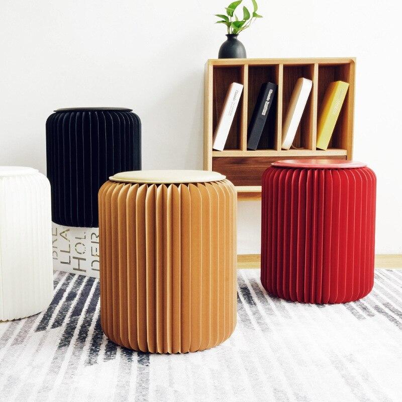 42cm tabouret moderne chaise pliante taburée papier Design avec 1 coussin en cuir multifonctionnel pour salon chambre essayage