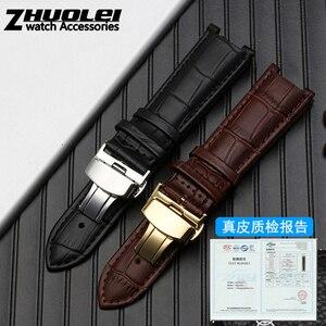 Image 4 - Bracelet de montre en cuir véritable pour bracelet GC, 22*13mm 20*11mm, avec boucle papillon, en acier inoxydable