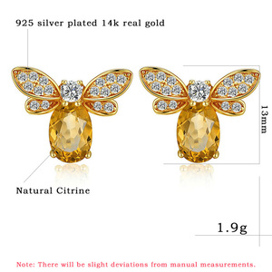 Image 5 - 925 sterling silver earring for women Natural Ametrine stone  jewelry 18K gold plated gemstone stud ear Fashion small bee lover