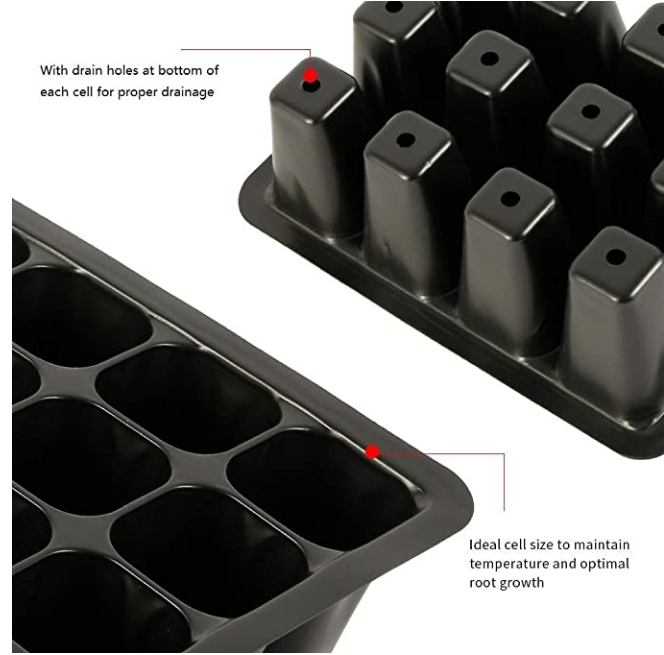 5 Sets Seed Trays Plant Germination Grow Starting Kit with Lid,12 Cells