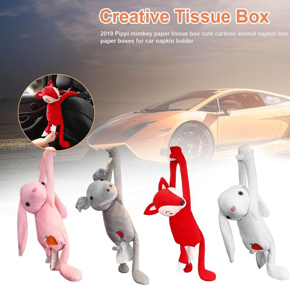 Creative Tissue Box Pippi Monkey Paper Napkin Case Cute Cartoon Animals Car Paper Boxes For Car Napkin Holder Car Accessories