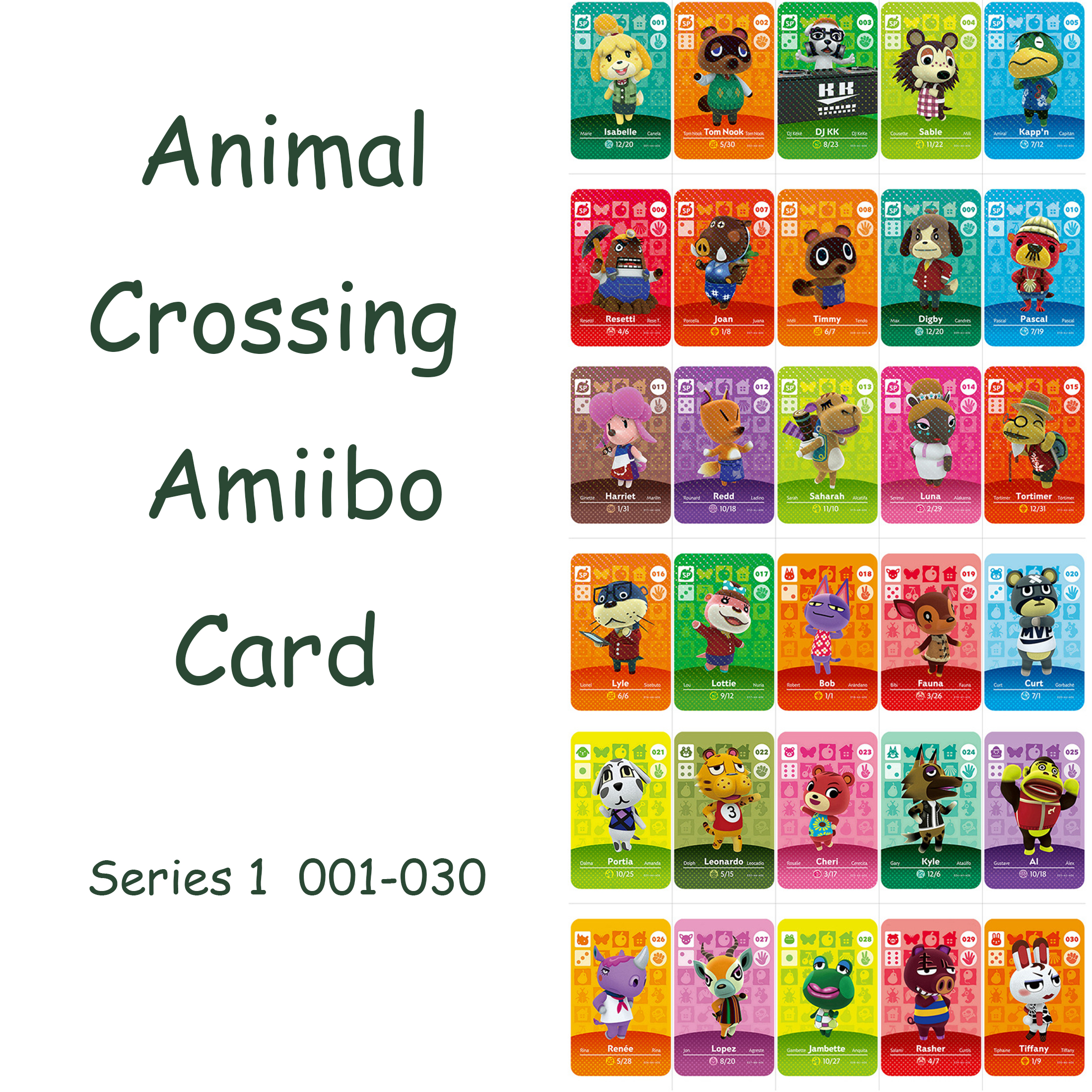 Animal Crossing <font><b>Amiibo</b></font> <font><b>Card</b></font> Series 1 (001 to 030) <font><b>Amiibo</b></font> <font><b>Card</b></font> Work for Ns Games Switch Welcome <font><b>Amiibo</b></font> Isabelle Pascal Harriet image