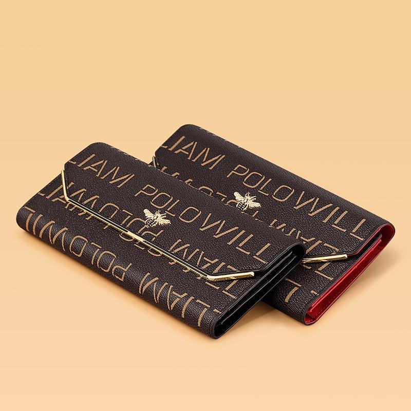 WilliamPolo Luxury Brand Leather Wallets Women Long Coin Purses Tassel Design Clutch Wallets Female Money Bag Credit Card Women Women's Bags Women's Wallets
