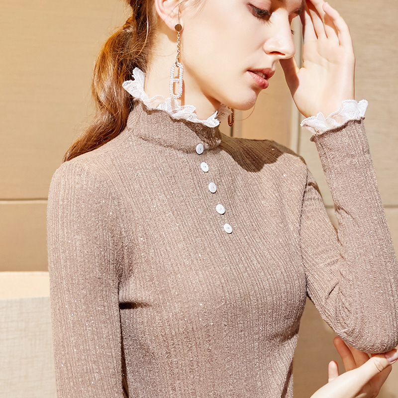 Patchwork Lace Button Autumn Winter 2019 New Sweater Women Stretchy Slim Long Sleeve Black Pullover Knitted Jumper Tops M99902