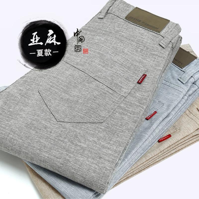 Spring Summer New Style Medium Waist Flax MEN'S Casual Pants Young MEN'S Business Men Slim Fit Straight-Cut Cotton Linen Trouser