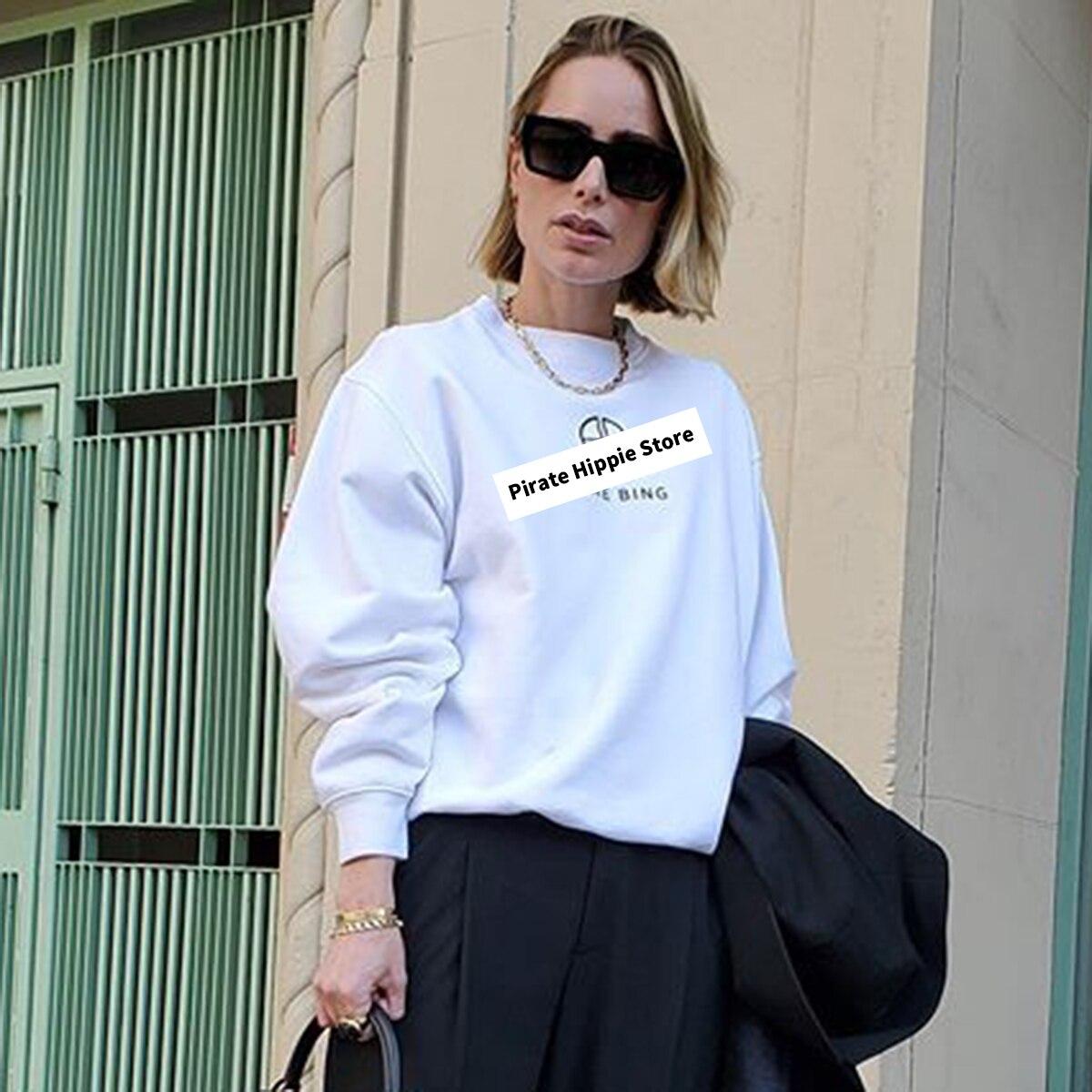 Женские белые свитшоты с вышитыми буквами, осенне зимний пуловер с длинными рукавами и круглым вырезом из 100% хлопка, повседневные винтажные