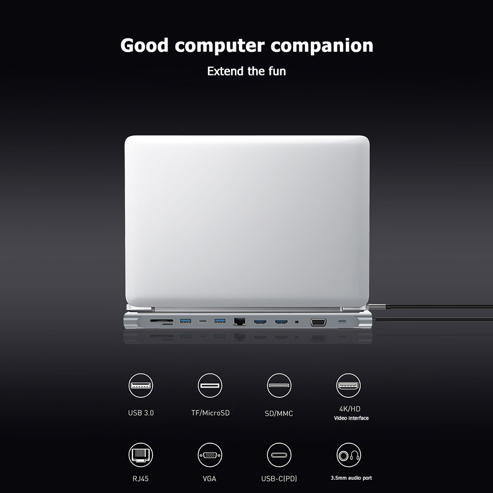 12 in 1 USB C HUB Type C to 4K HDMI VGA 3.5mm Audio USB3.0 USB2.0 RJ45 TF/SD Card Reader PD Charing Adapter for MacBook Pro