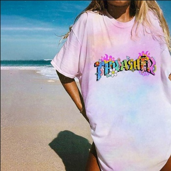 2020 Summer Fashion Women Loose Tee Shirt Punk Tie Dye Gradient Print Loose T-shirt Female Harajuku Street Graphic T-shirt Mujer