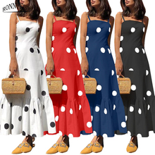 RONNYKISE Strapless Polka Dot Printed Dresses Womens Fashion Sleeveless Dress Summer Sundress Casual Long