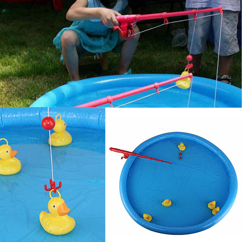 Duck Fishing Game Pond Pool With 5 Ducklings Set Kid Educational Preschool Toy FJ88