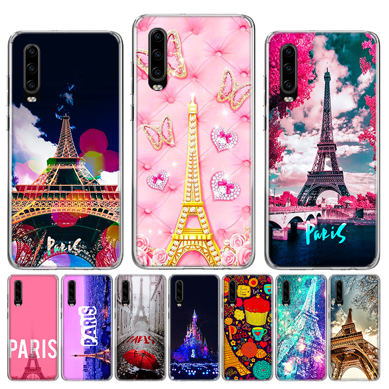 Paris the Eiffel Soft Silica Shell <font><b>Case</b></font> For <font><b>Huawei</b></font> Honor 10 9 lite P Smart Z Plus 2018 8S 8X Y5 Y6 <font><b>Y7</b></font> Y9 <font><b>2019</b></font> <font><b>Cover</b></font> image