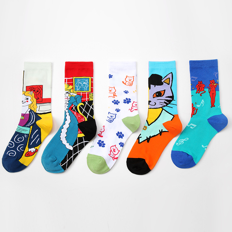 Original European And American Style Artist Series Cat Personality Couple Socks Autumn And Winter Men And Women Cotton Socks