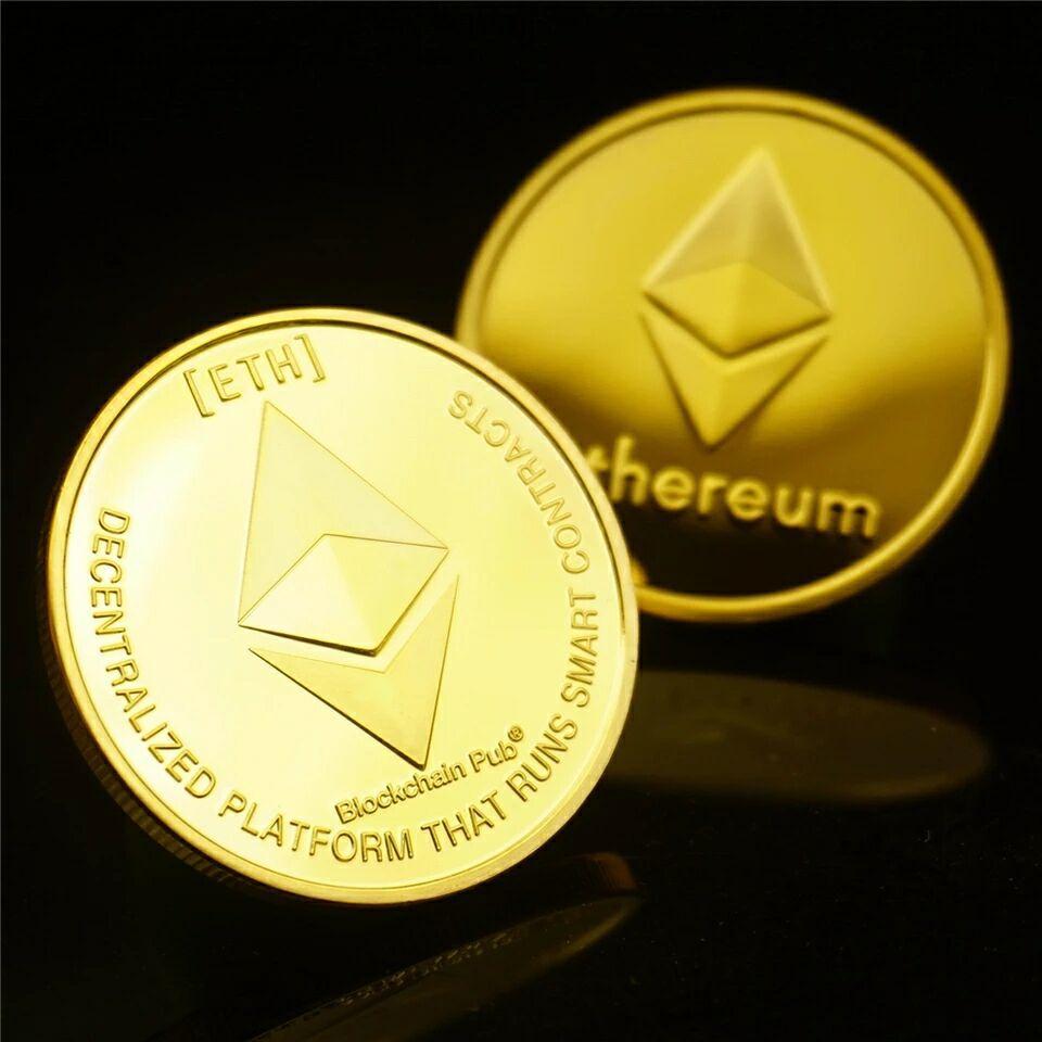 Эфириума монета Реплика арт коллекция подарок физический металл Античная имитация Non монеты иностранных валют Коллекционные вещи цвета: золотистый, Серебристый покрытием|Безвалютные монеты|   | АлиЭкспресс