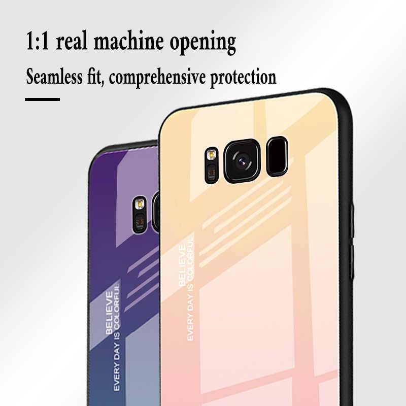 Градиентный чехол из закаленного стекла для samsung Galaxy S10 S8 S9 Plus Note 8 9 10 защитный чехол для samsung A10 A30 A50 A70 A90