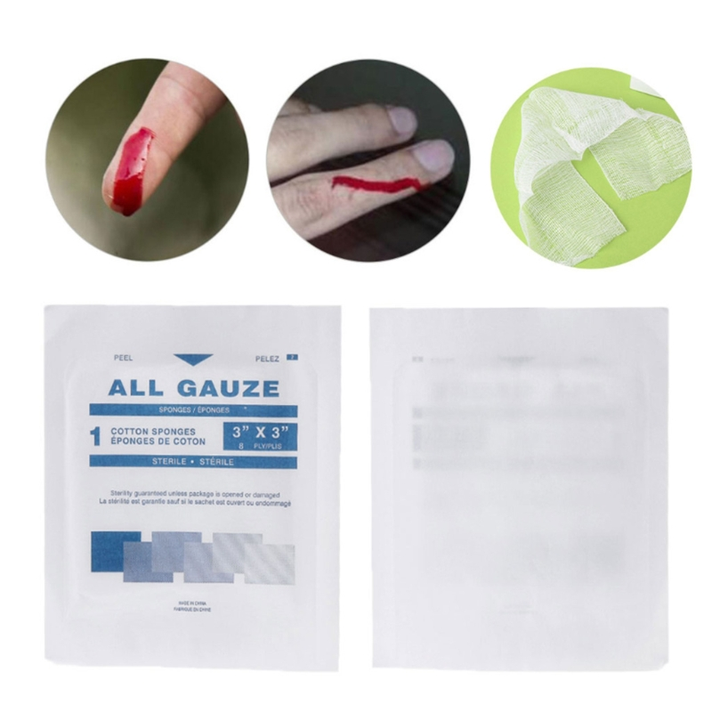 10Pcs First Aid Kit Wound Dressing Big Gauze Pad Medical Care Sterile 7.5x7.5cm