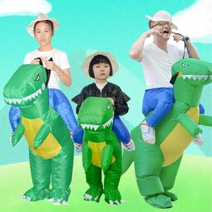 Image 1 - 3D Stand Riding Inflatable Dinosaur Costume Halloween Dress Cosplay Suit Horse Cowboy Costume for Kids Adult Party Prop Supplies
