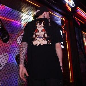 Image 2 - Bebovizi t shirt manches courtes homme, Streetwear de Style japonais Ukiyo E, humoristique, chat samouraï et Hip Hop, avec broderie