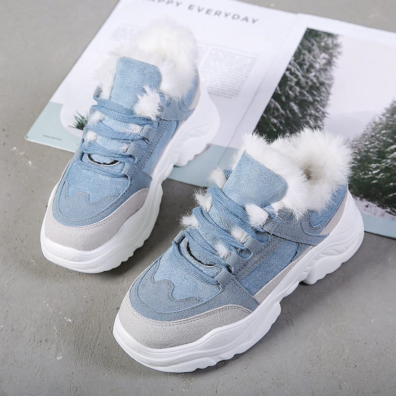 KEEP WARM 2019 Platform Women Sneakers Fashion Thick Bottom Winter Plush Casual Chunky Shoes Woman Female Shoes Blue