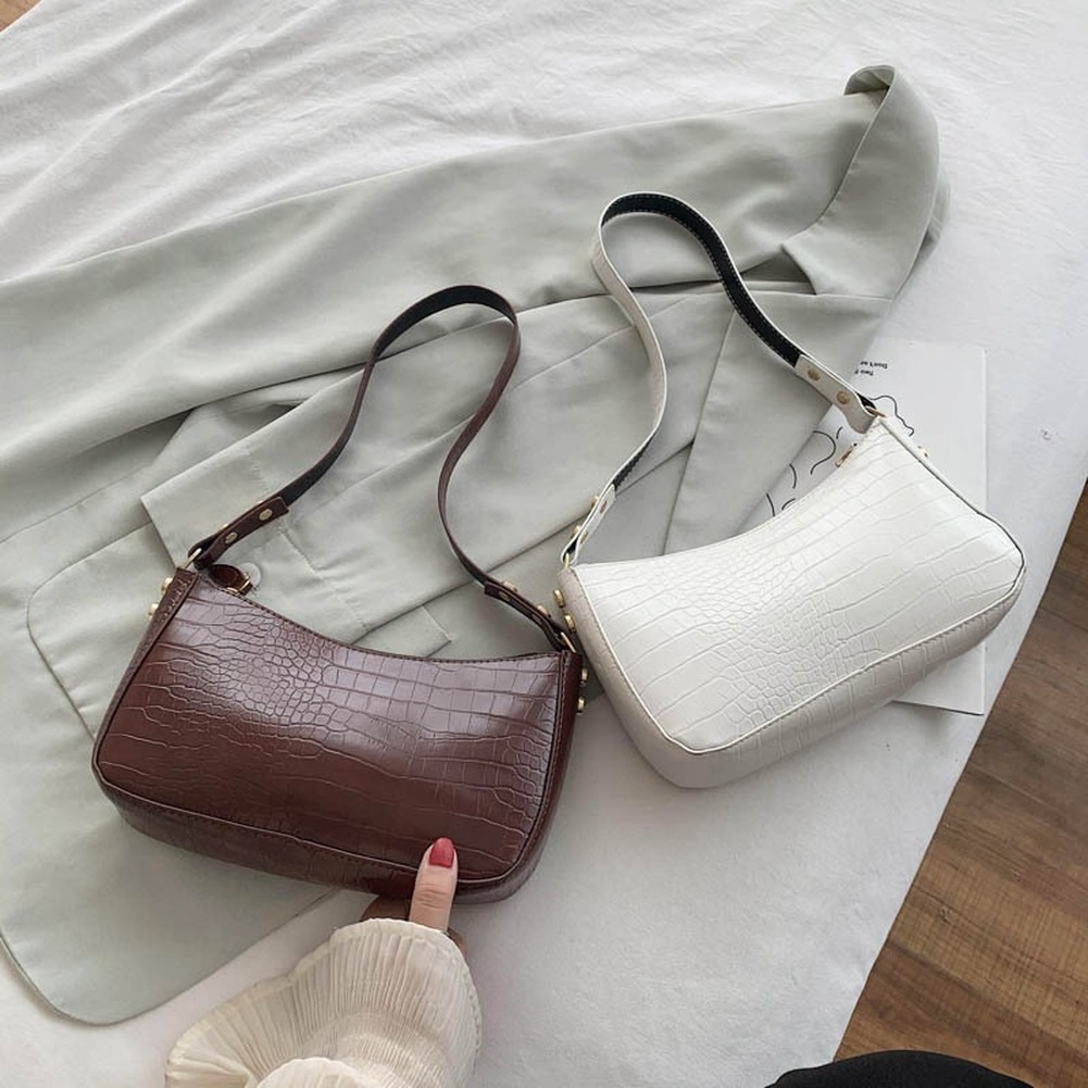 Fashion Crocodile Pattern Baguette Bags PU Leather Shoulder Bags for Women 2020 Elegant Design Luxury Hand Bag Female Travel