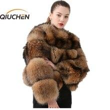 QIUCHEN PJ1884 yeni varış kadın kış gerçek rakun kürk kabarık sıcak satış toptan kürk elbise kadınlar kış gerçek kürk ceket