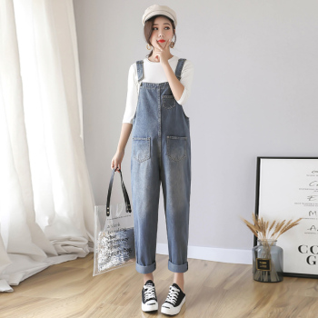 9801# Vintage Washed Denim Maternity Bib Jeans Large Size Loose Jumpsuits Clothes for Pregnant Women Pregnancy Overalls Pants 2017 summer maternity bib overalls black white pregnancy dungarees pregnant pants fashion jumpsuits for pregnant women