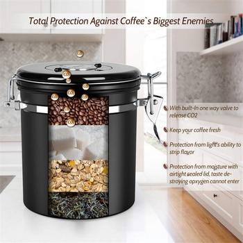 Stainless Steel Sealed Tank Storage Tank Moisture-proof Coffee Bean Milk Powder Jar Tea Pot Kitchen Grains Storage Box 6