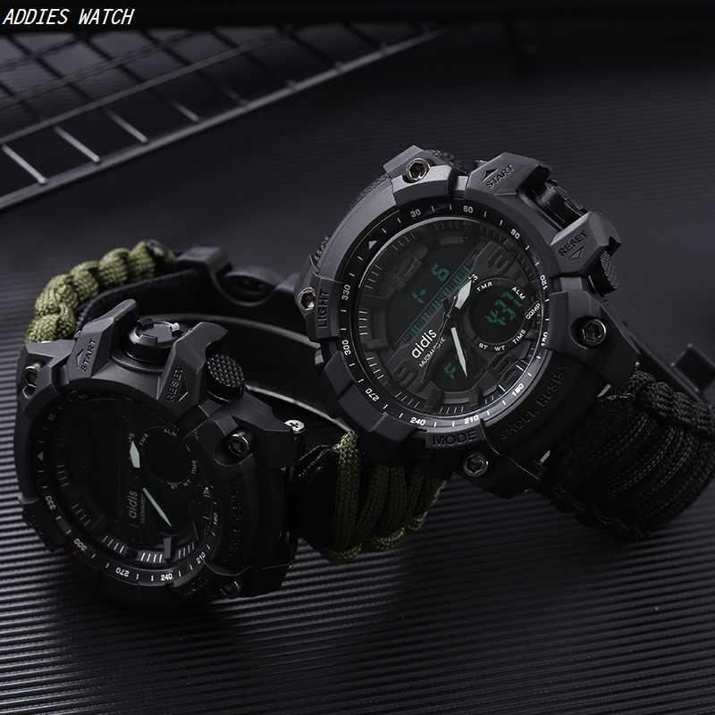 30 Meter Tahan Air Digital Pria Watch Kompas Pria Olahraga Watch Payung Tali Adjustable Band Luar Ruangan Militer Watch untuk Pria