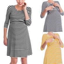 Striped Maternity Nursing Pajamas Nightgown Breastfeeding Dress Pajamas Pregnant Women Nightwear For Breast Feeding Sleepwear