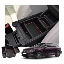 Lfotpp caixa de armazenamento braço do carro para leon mk3 leon cupra 5f 2017 2018 2019 controle central recipiente caixa auto acessórios interiores