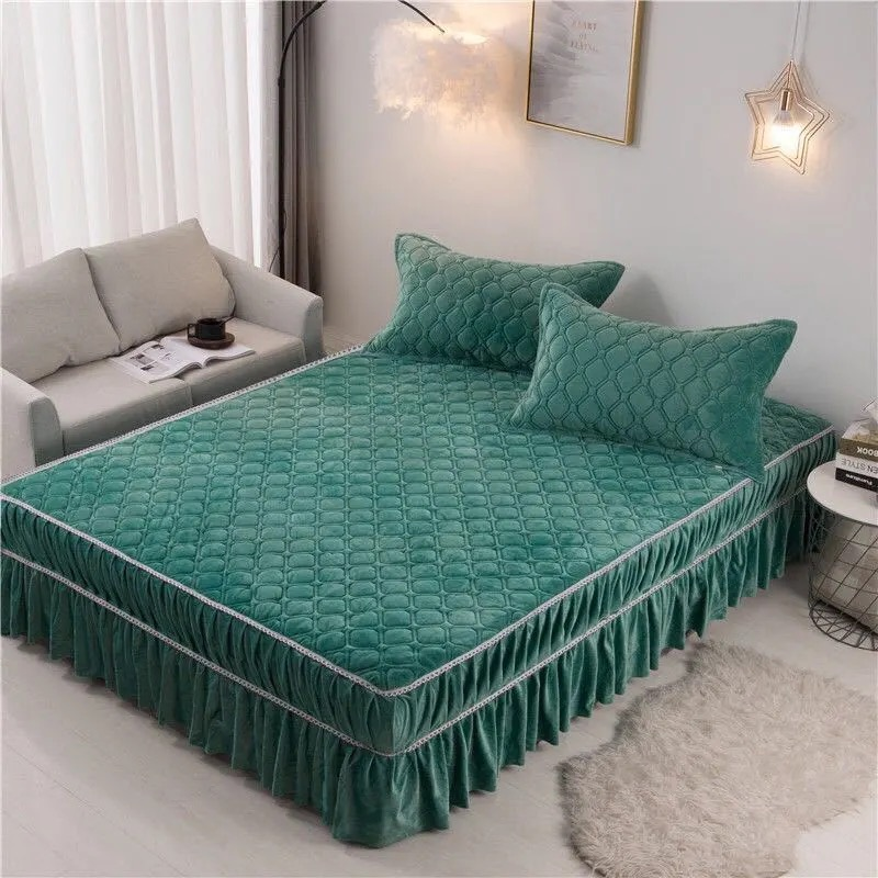 Justchic Crystal Velvet Bed Skirt Queen Size Solid Color Thick Warm Bedspread Plush Fitted Sheet Pillowcase Bed Cover 2.5kg