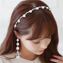 Fashion Wedding Birthday New Crystal Pearl Hair Bands Verano Headband Hair Accessories Ornaments Head Wear Hoop for Women Girls(China)