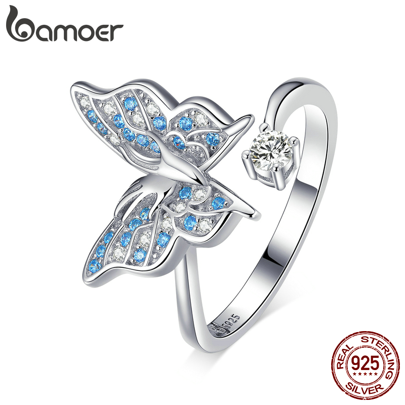 Bamoer 925 Sterling Silver Flying Butterfly Open Adjustable Finger Rings For Women Blue CZ Engagement Statement Jewelry BSR098