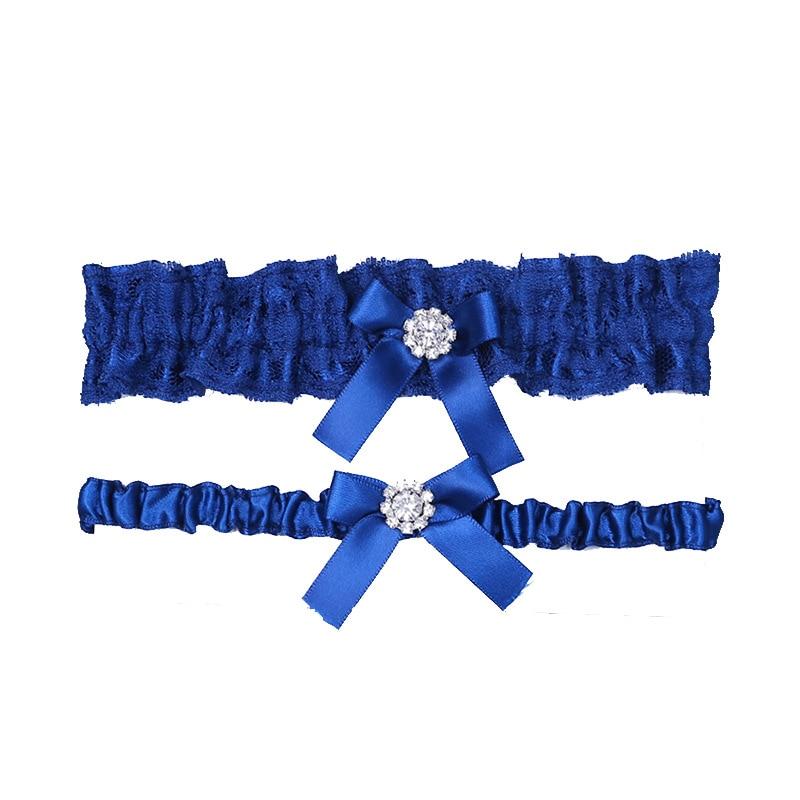 Royal Blue Wedding Garters Set Lace Rhinestone Floral  Sexy Garters For Women/Bride Thigh Ring Bridal Leg Garter