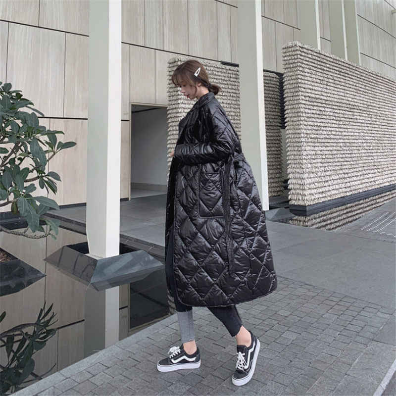 Design Winter Jacket Women Korean Plaid Fashion Autumn Slim Bandage Coat Thick Outwear For Women Plus Size abrigos mujer f1664