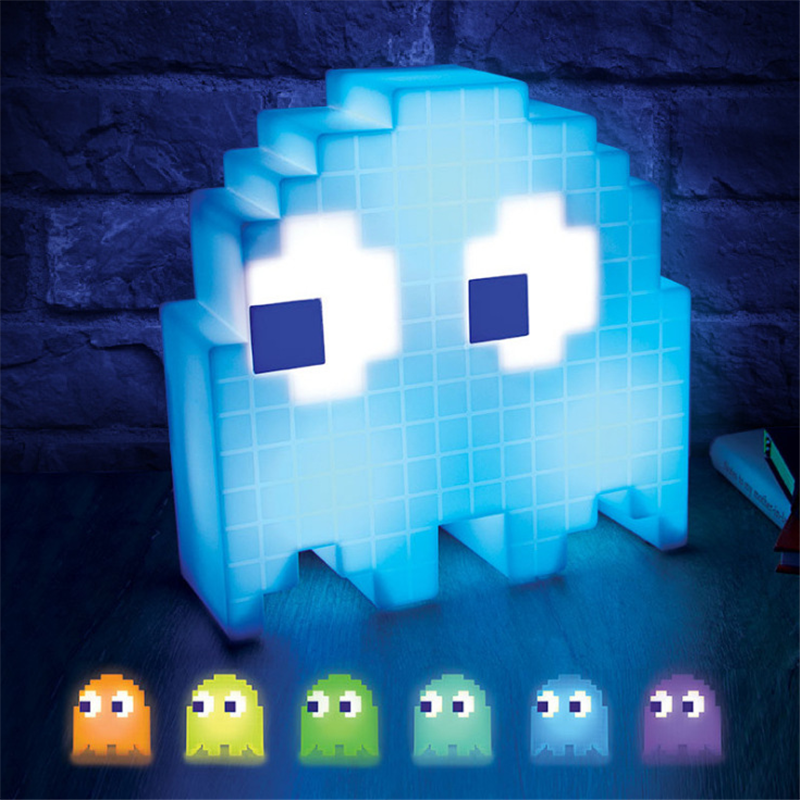 Pac-Man Pixel Night Light LED Wars Colorful Table Desk Lamp Party Children Atmosphere Lampara Eat Peas Ghost Light Xmas Kid Gift