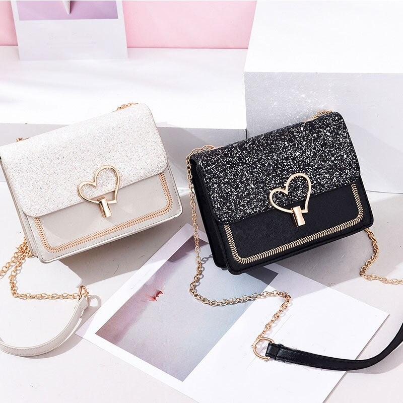 Date femmes sac à bandoulière sacs à bandoulière pour femmes mignon chaîne noir sac à main sacs de mode femmes dame en cuir sac à main femme
