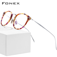 FONEX Pure Titanium Glasses Frame Men Vintage Round Ultralight Eyeglasses Prescription Myopia Optical Women Acetate Eyewear 9132