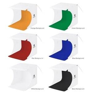 Image 5 - PULUZ 20 centimetri Anello Pannello LED Portatile Pieghevole Luce Foto Studio di Illuminazione di Ripresa Tenda Box Kit con 6 Colori Fondali foto Kit