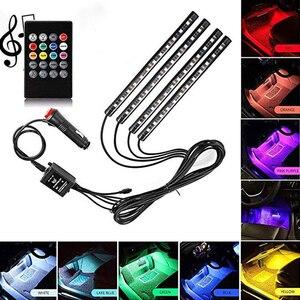 4Strips 5050 RGB Multicolor 12 LED Car Interior Lighting Music Rhythm Light Sound Control Atmosphere Bulb Cigaratte Lighter 12V