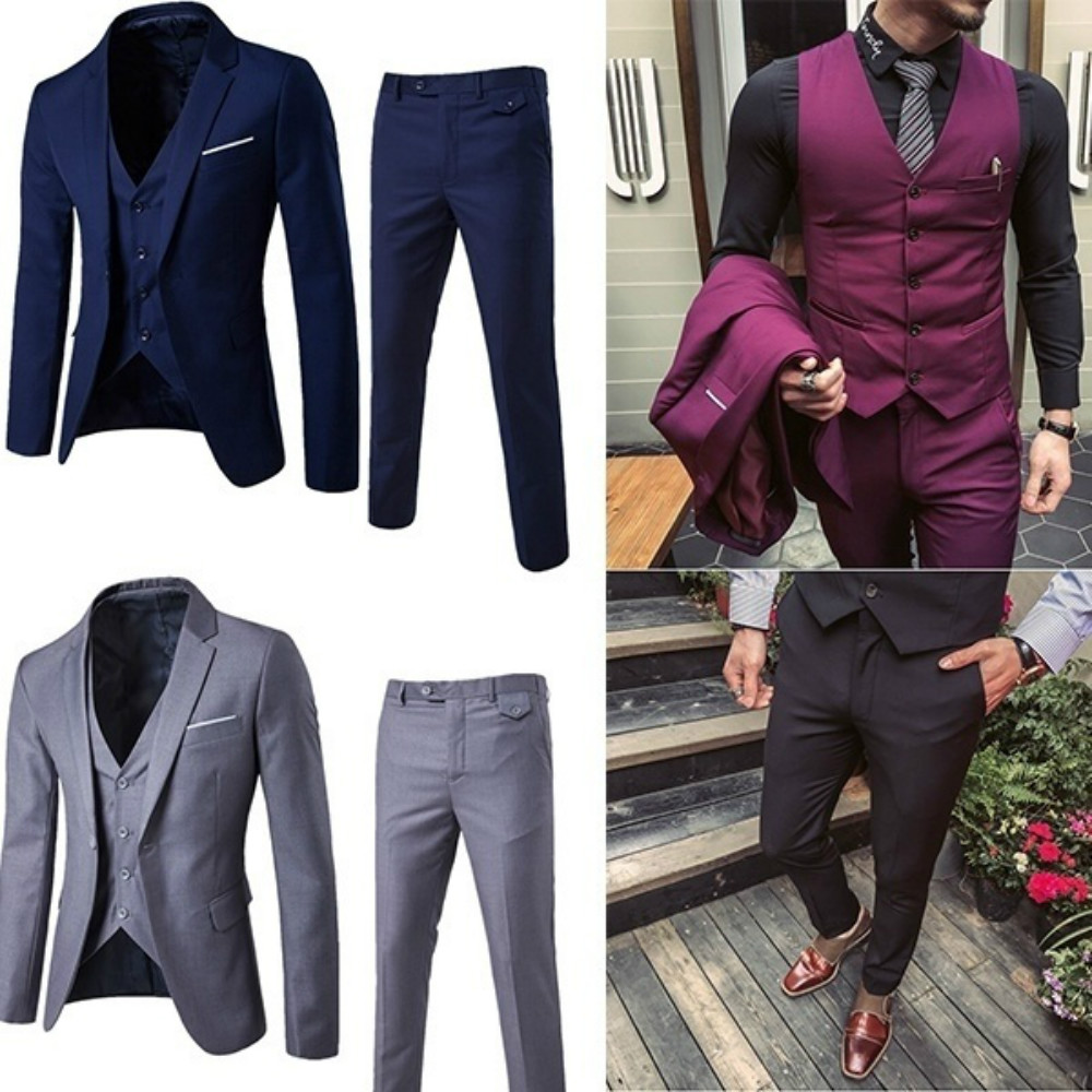 ZOGAA 2019 Men Blazer Suits Business Slim Fit Wedding Groom Suit Pure Color 3 Piece Of Suit Plus Size Men Leisure Suits