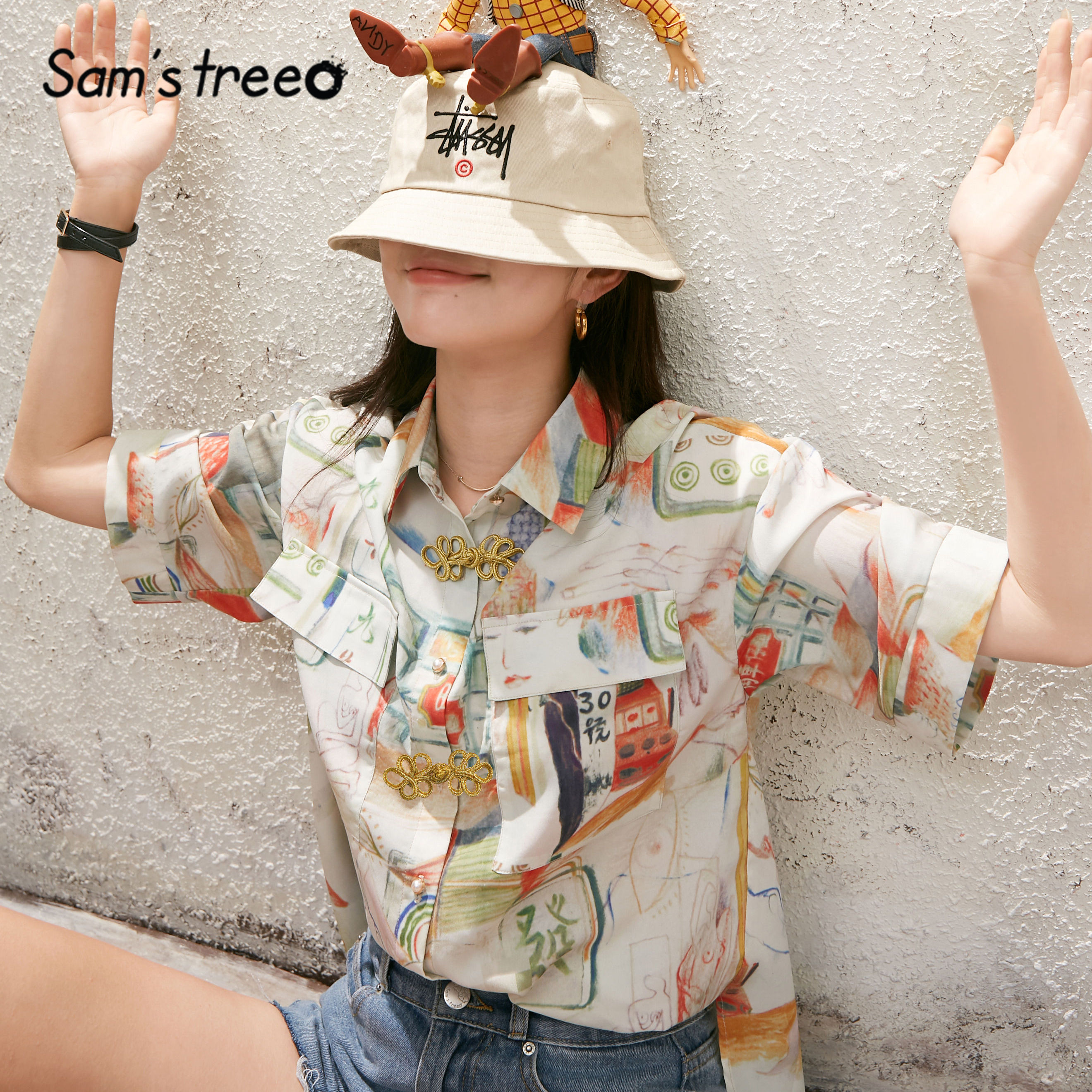 SAM'S TREE Multicolor Graphic Print Chic Pearls Button Casual Women Shirts 2020 Summer Half Sleeve Korean Ladies Daily Tops