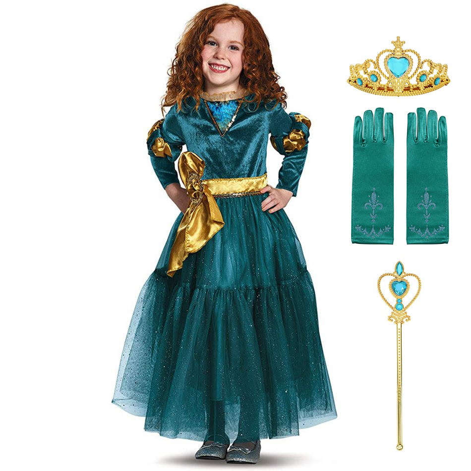 MUABABY Girls Merida Princess Dress Up Clothes Children Teens Halloween Birthday Party Gown Frocks Girls Fancy Costume for 3-14T