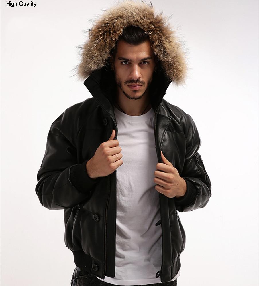 Fly Leather Down Jacket Real Fur Genuine Leather Jacket Men Sheepskin Black Winter Coat Hooded Bomber Jacket