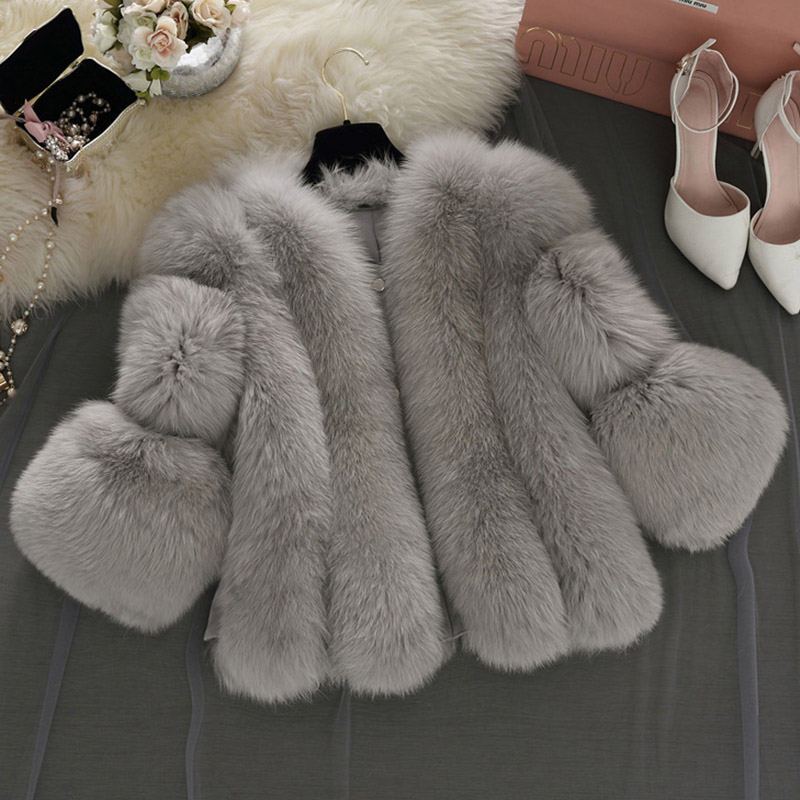 Women Winter Thick Gray Fur Coat Fashion Faux Fox Fur Coats Furry Female Three Quarter-sleeve Artificial Pink Fur Jacket PC237