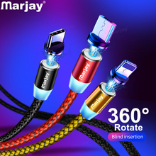Marjay Magnetic Micro USB Cable For iPhone Samsung Android Fast Charging Magnet Charger USB Type C Cable Mobile Phone Cord Wire cheap TYPE-C 2 4A NYLON USB A 2 in 1 3 in 1 With LED Indicator Alloy Connector Magnetic Charger Cable Magnetic usb Charging Cable