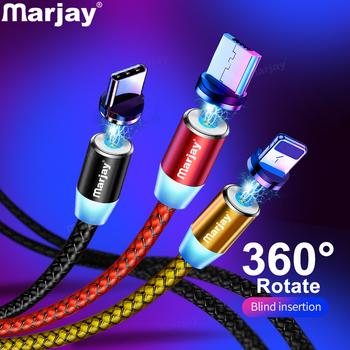 Marjay-magnetyczny kabel mikro USB do iPhone #8217 a Samsunga Android szybkie ładowanie ładowarka USB typ C telefon komórkowy przewód drut tanie i dobre opinie TYPE-C Micro Usb 2 4A CN (pochodzenie) NYLON USB A Magnetyczne 2 w 1 3 w 1 Ze wskaźnikiem LED Złącze ze stopu Magnetic Charger Cable
